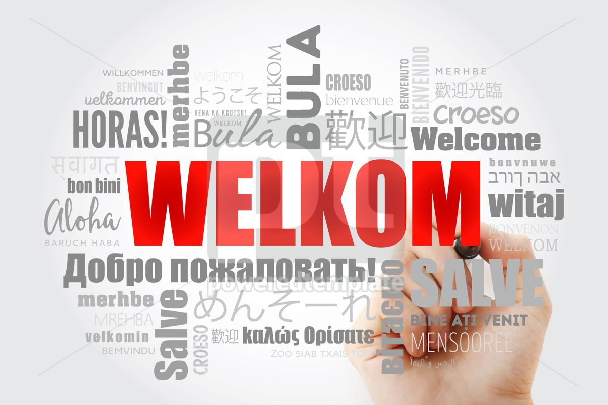 Welkom Welcome in Afrikaans word cloud with marker in differen, 13235, Business — PoweredTemplate.com