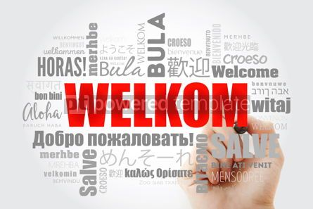 Business: Welkom Welcome in Afrikaans word cloud with marker in differen #13235