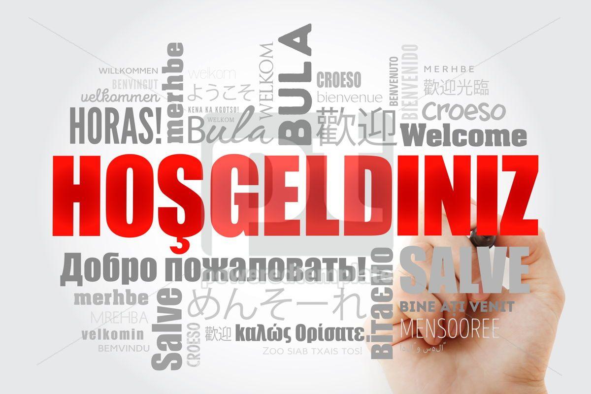 Hosgeldiniz Welcome in Turkish word cloud with marker in diffe, 13236, Business — PoweredTemplate.com