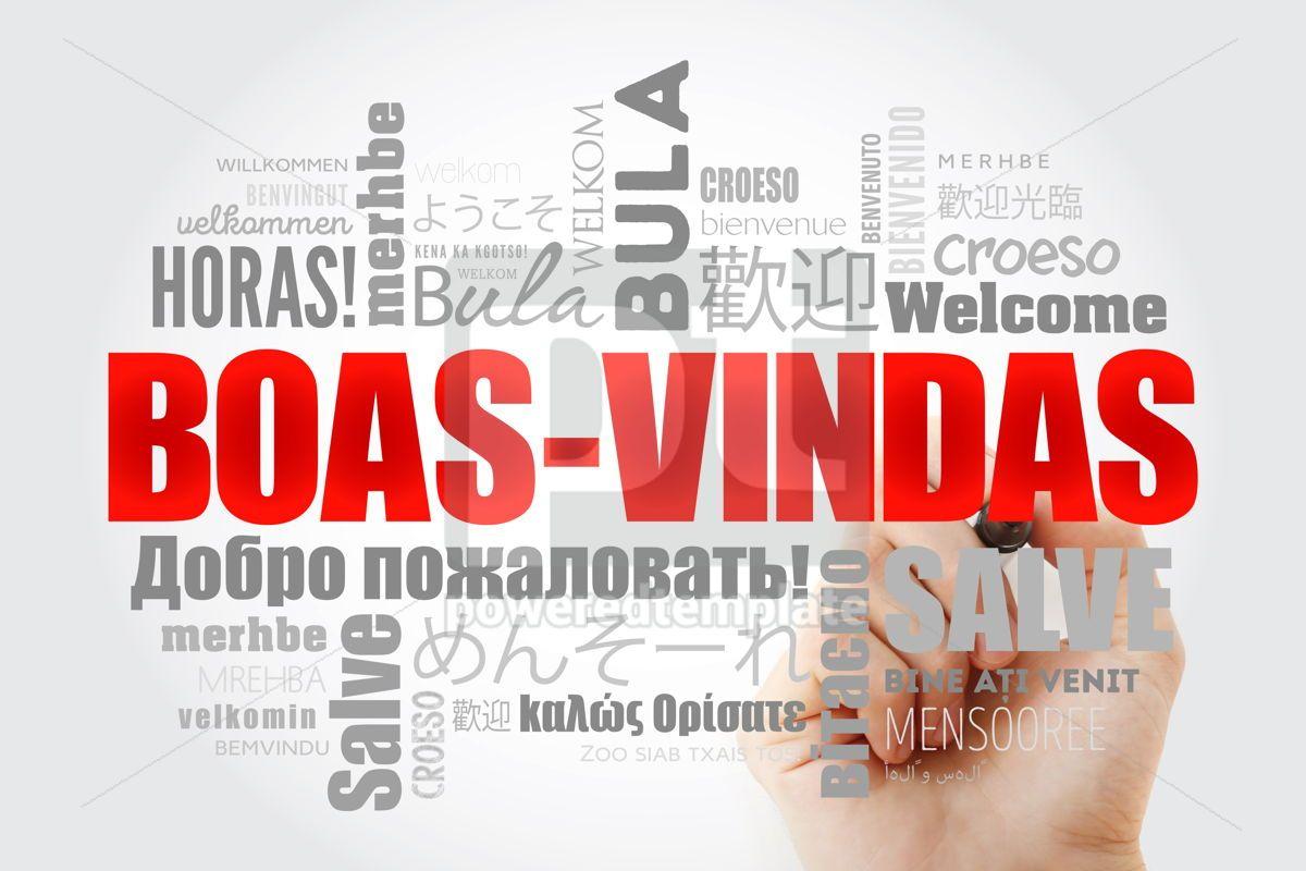 Boas-Vindas Welcome in Brazilian Portuguese word cloud with ma, 13238, Business — PoweredTemplate.com