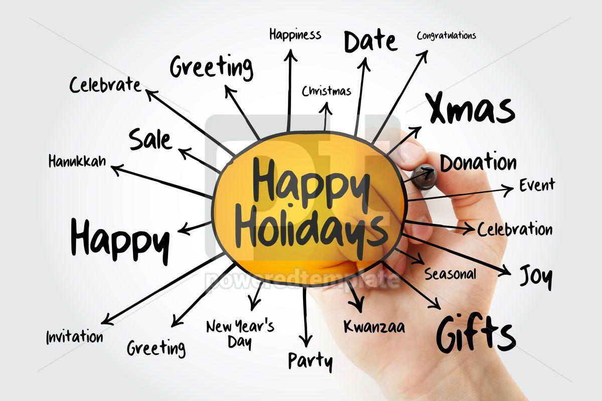 Happy Holidays mind map holiday concept for presentations and r, 13240, Business — PoweredTemplate.com