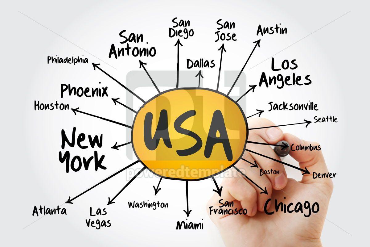 USA cities mind map flowchart with marker travel business conce, 13243, Business — PoweredTemplate.com