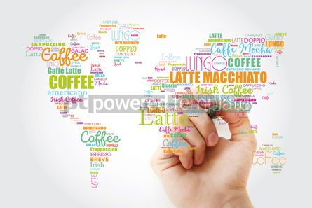 Business: Coffee drinks word cloud in shape of World Map #13295