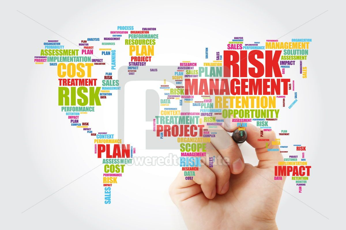 Risk Management word cloud in shape of World Map business conce, 13303, Business — PoweredTemplate.com
