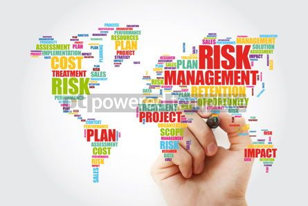Business: Risk Management word cloud in shape of World Map business conce #13303