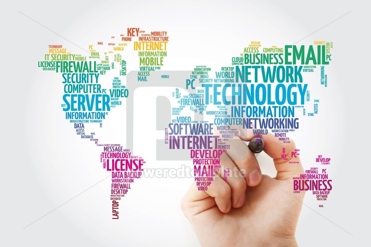 Technology word cloud in shape of world map business concept ba, 13307, Business — PoweredTemplate.com