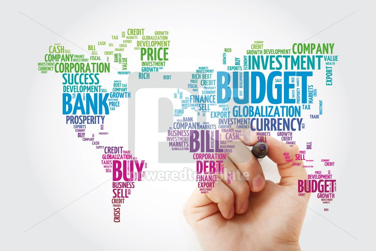 Business and Invest word cloud in shape of world map finance co, 13308, Business — PoweredTemplate.com