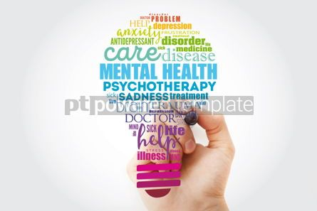 Business: Mental health bulb word cloud collage with marker health concep #13309