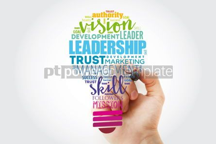 Business: LEADERSHIP light bulb word cloud collage business concept backg #13311