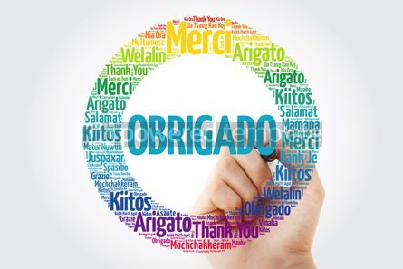 Business: Obrigado Thank You in Portuguese Word Cloud #13337