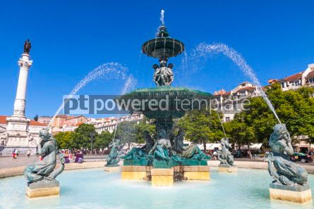 Architecture : Baroque fountain on Rossio square in Lisbon city Portugal #13368