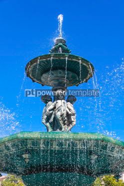 Architecture : Baroque fountain on Rossio square in Lisbon city Portugal #13369