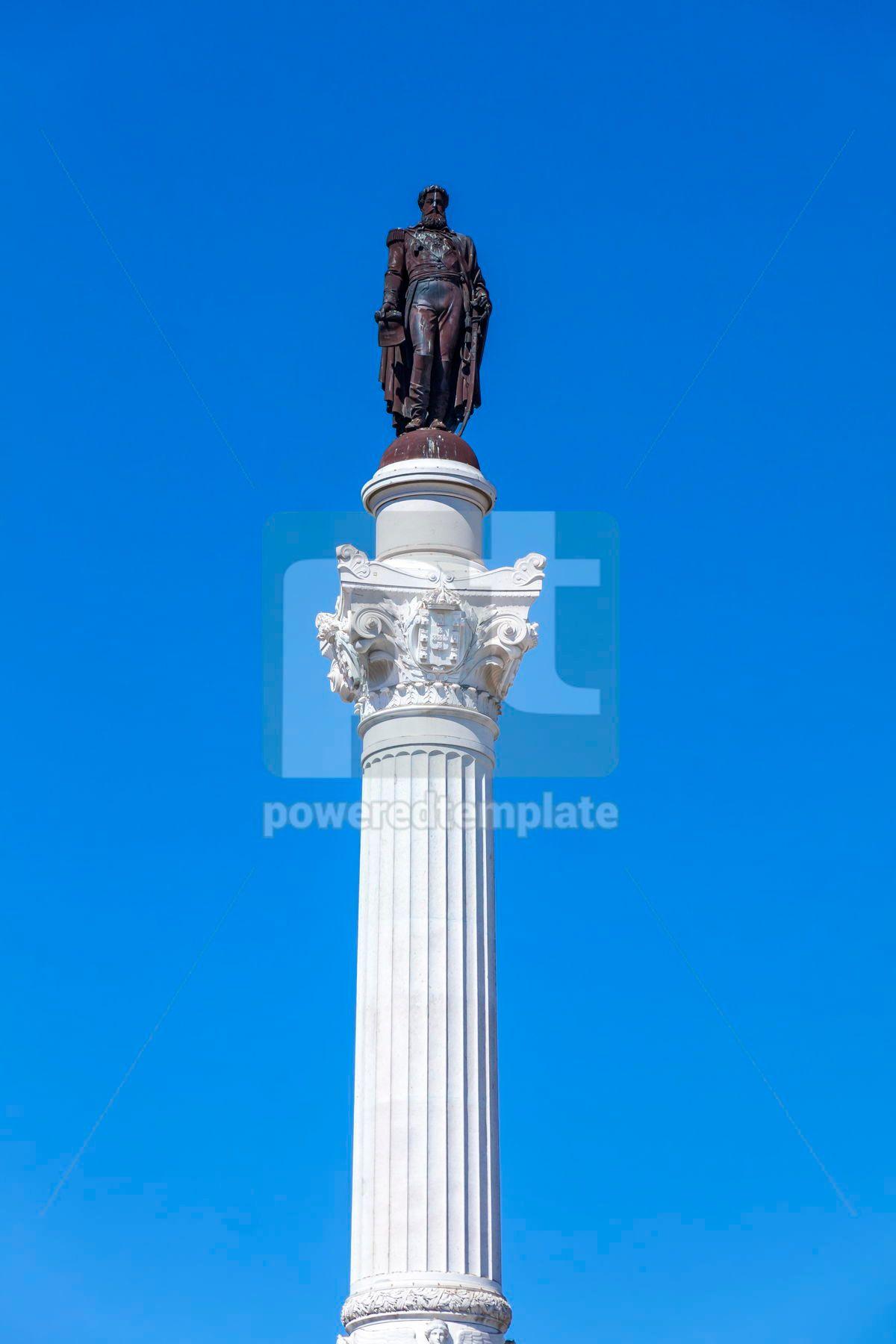 Marble statue of Pedro IV on Rossio square Lisbon Portugal, 13370, Architecture  — PoweredTemplate.com