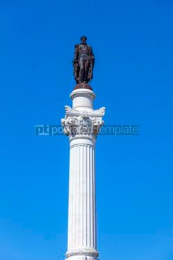 Architecture : Marble statue of Pedro IV on Rossio square Lisbon Portugal #13370