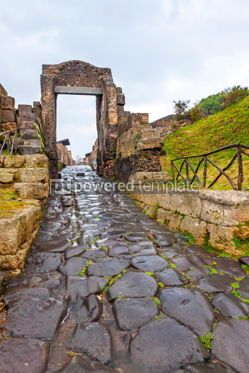 Architecture : Paved street at the ancient Roman city of Pompei Italy #13379