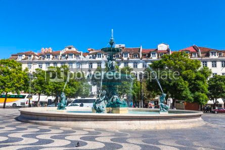Architecture : Baroque fountain on Rossio square in Lisbon city Portugal #13386