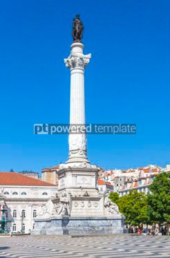 Architecture : Marble statue of Pedro IV on Rossio square Lisbon Portugal #13387