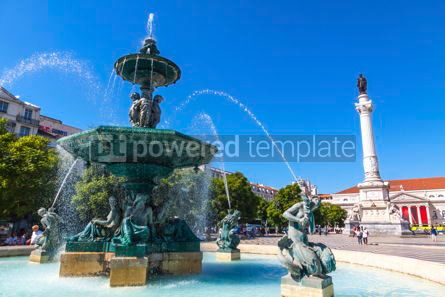 Architecture : Baroque fountain on Rossio square in Lisbon city Portugal #13388