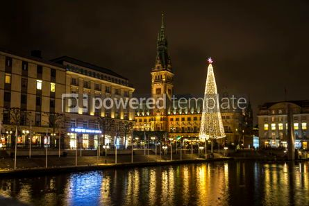 Architecture : Christmas market at Town Hall square in Hamburg Germany #13394