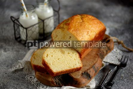 Food & Drink: Tasty orange cake with milk on a wooden board Homemade baking #13399