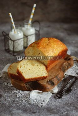 Food & Drink: Tasty orange cake with milk on a wooden board Homemade baking #13400