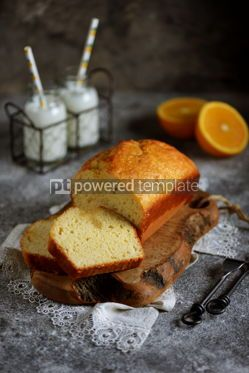 Food & Drink: Tasty orange cake with milk on a wooden board Homemade baking #13401