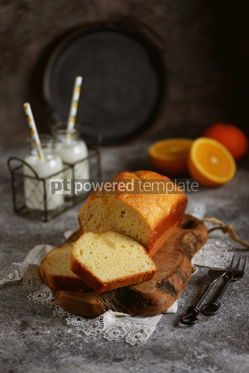 Food & Drink: Tasty orange cake with milk on a wooden board Homemade baking #13402