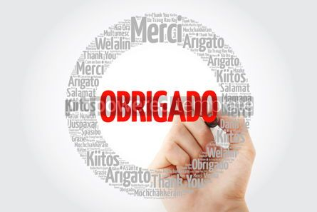 Business: Obrigado Thank You in Portuguese Word Cloud #13424