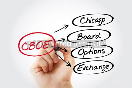 Business: CBOE – Chicago Board Options Exchange acronym with marker bus #13430