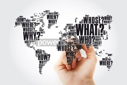 Business: Question Words World Map in Typography words cloud with marker #13460
