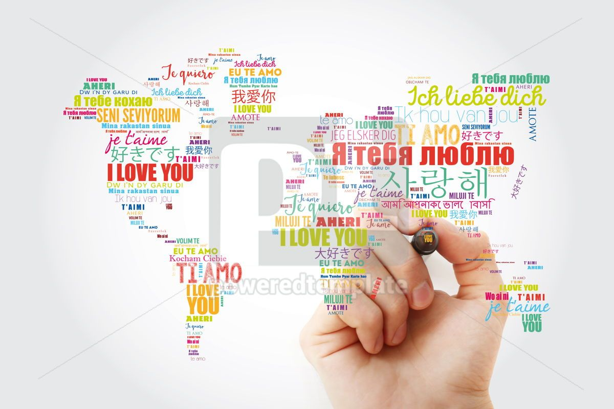 "Love words ""I love you"" in different languages in shape of World, 13463, Business — PoweredTemplate.com"