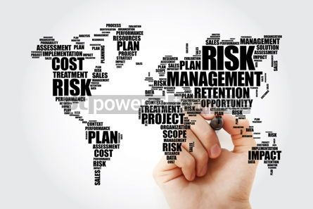 Business: Risk Management word cloud in shape of World Map business conce #13464