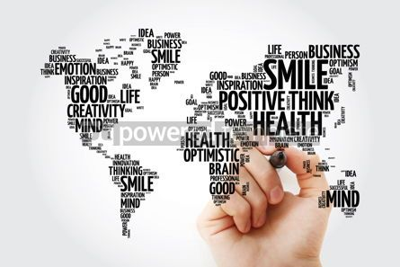 Business: Positive thinking word cloud in shape of world map creative con #13471