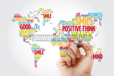 Business: Positive thinking word cloud in shape of world map creative con #13472