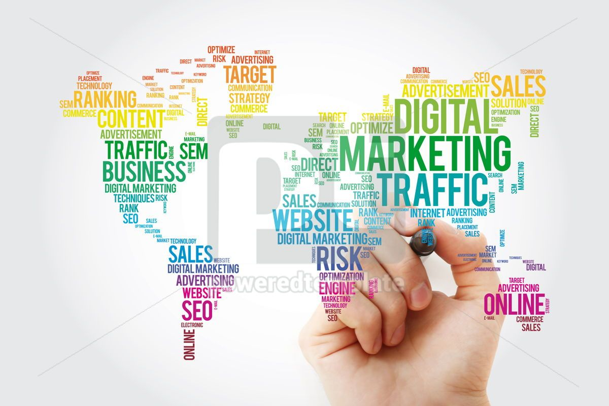 Digital Marketing word cloud in shape of world map business con, 13474, Business — PoweredTemplate.com