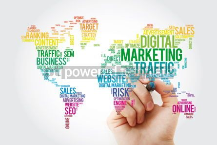 Business: Digital Marketing word cloud in shape of world map business con #13474