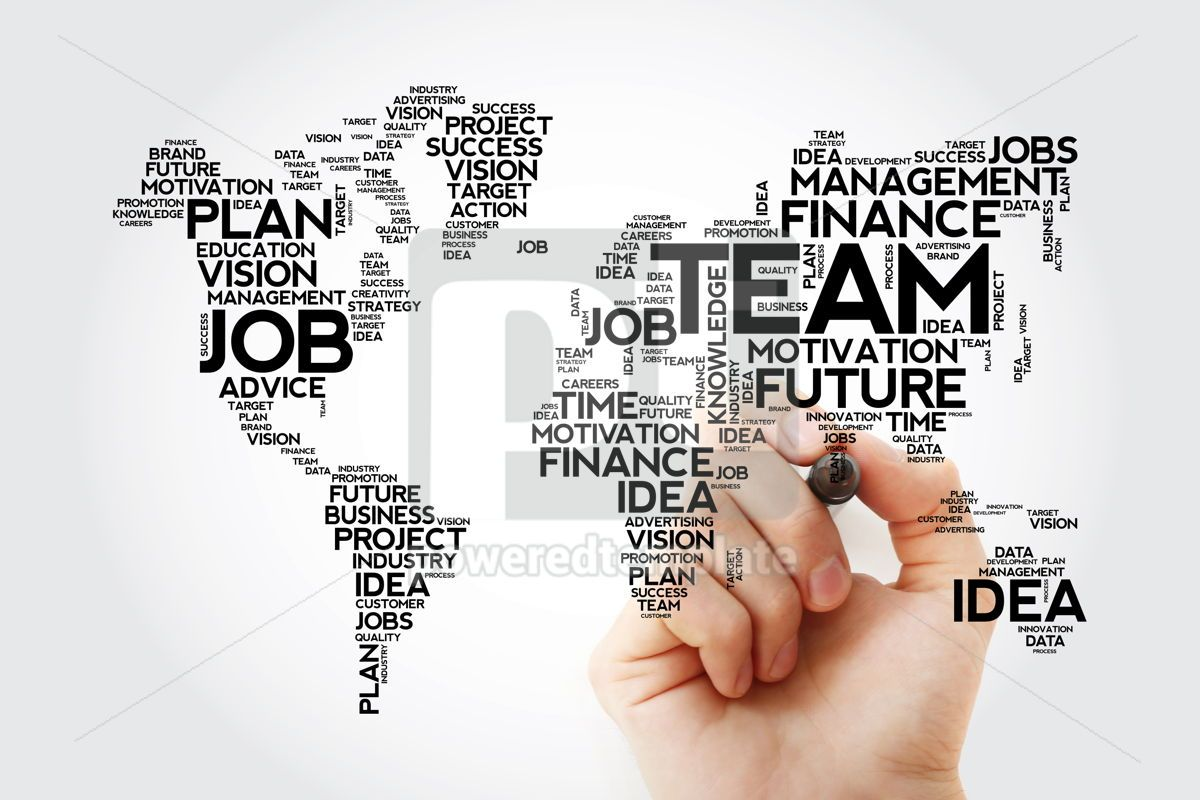 TEAM word cloud in shape of world map business concept backgrou, 13475, Business — PoweredTemplate.com