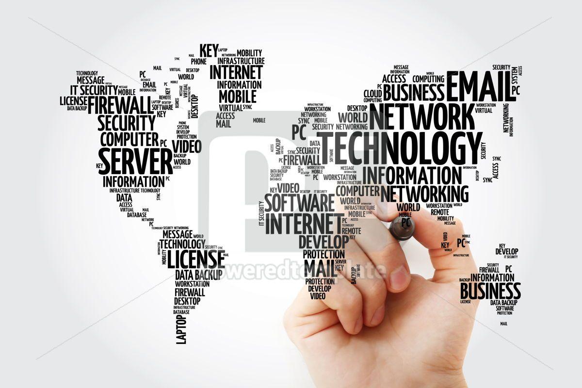 Technology word cloud in shape of world map business concept ba, 13477, Business — PoweredTemplate.com