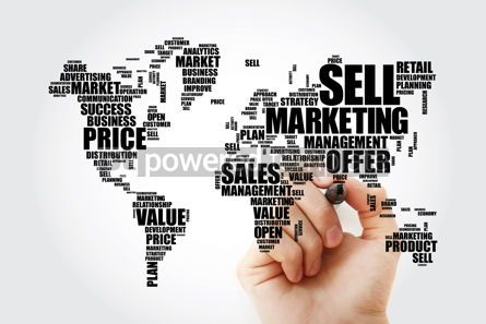 Business: Marketing word cloud in shape of World Map business concept bac #13479