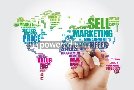 Business: Marketing word cloud in shape of World Map business concept bac #13480
