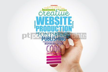 Business: Website production light bulb word cloud with marker technology #13485