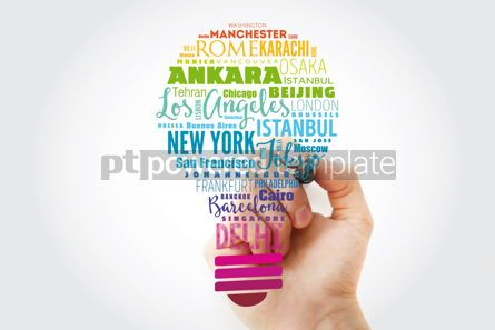 Business: The largest cities in the world light bulb word cloud travel de #13488
