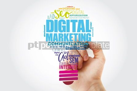 Business: Digital Marketing bulb word cloud collage with marker business #13489