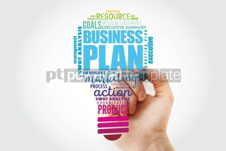 Business: Business plan light bulb word cloud collage business concept ba #13490