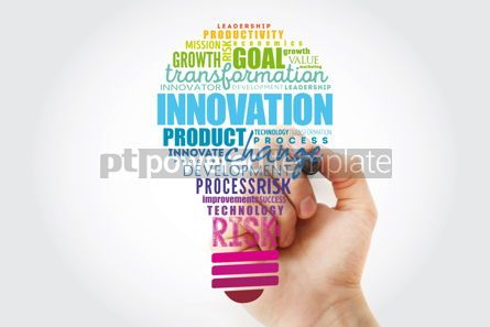Business: INNOVATION light bulb word cloud business concept background #13492