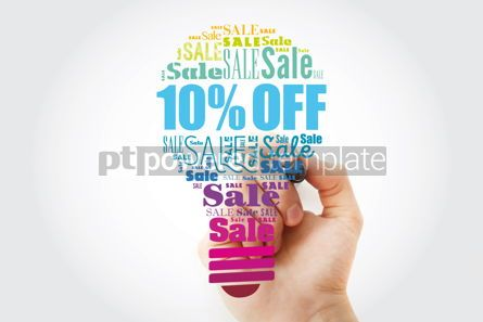 Business: 10 OFF Sale light bulb word cloud collage business concept bac #13493