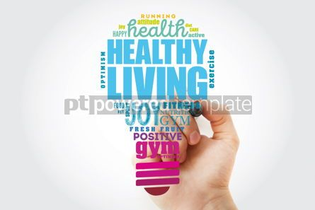 Business: Healthy Living light bulb word cloud health concept background #13502