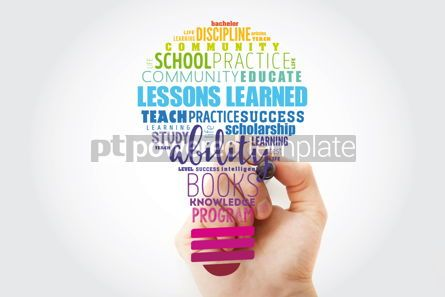 Business: Lessons Learned light bulb word cloud collage education concept #13503
