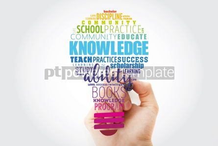 Business: KNOWLEDGE light bulb word cloud collage education concept backg #13506