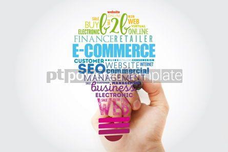 Business: E-COMMERCE light bulb word cloud business concept background #13512